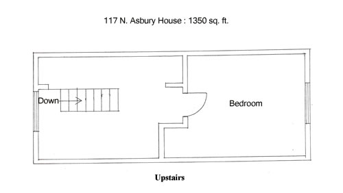 Floor plan of the upstairs of the house on 117  N. Asbury in Moscow, Id