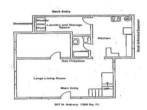 Downstairs floor plan of the three-bedroom house on 207 N. Asbury in Moscow, Id