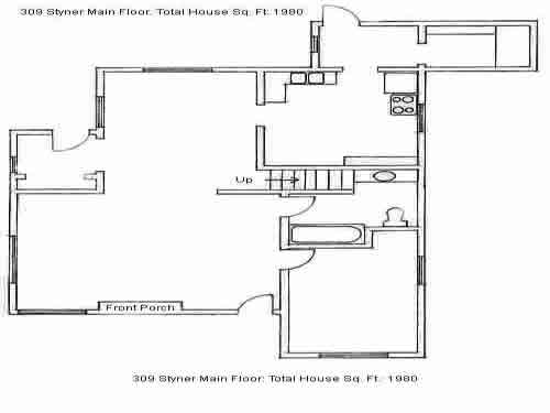 Downstairs floor plan of the four-bedroom house on 309 Styner Ave in Moscow, Id