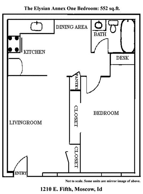 Floor plan of the one bedrooms at The ELysian Annex Apartments, on 1210 East Fifth Street in Moscow, Id