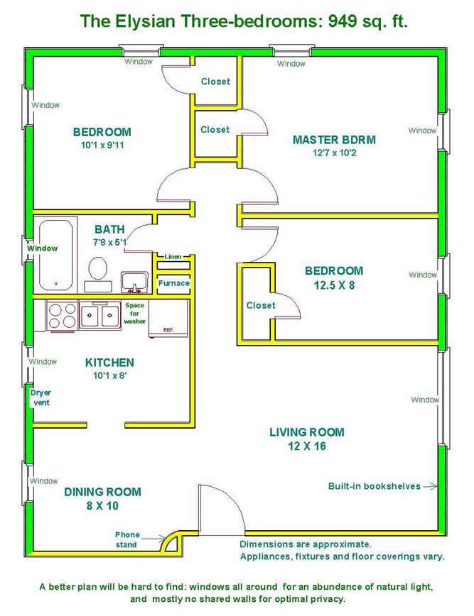 Floor plan of a three-bedroom apartment at The Elysian Fourplexes in Moscow, Id