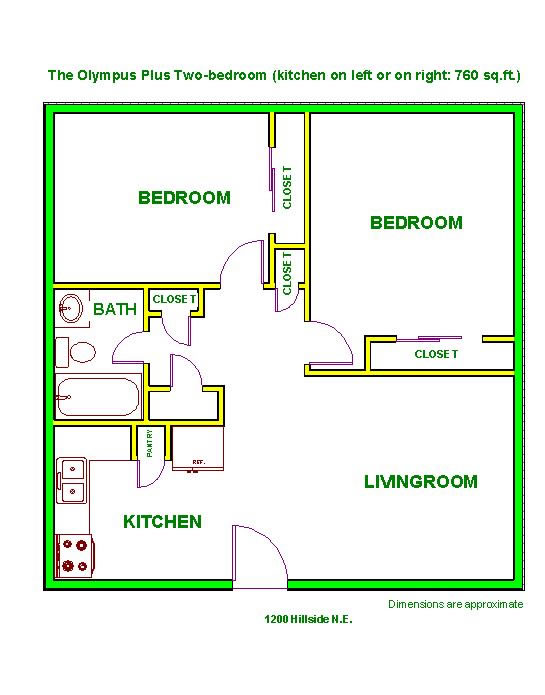 Floor plan of The Olympus Plus Apartments, 1200 Hillside Circle in Pullman, Wa