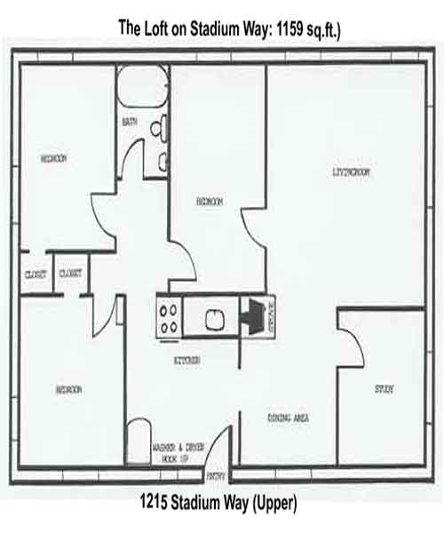 Floorplan of the Loft on 1215 Stadium Way in Pullman, Wa