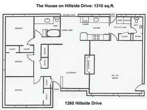 Floor plan of the three-bedroom house on 1260 Hillside Drive in Pullman, Wa