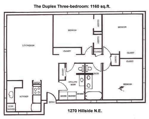 Floor plan of the three-bedroom duplex on 1270 Hillside Drive in Pullman, Wa