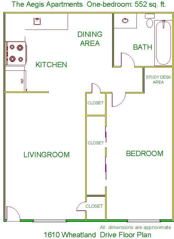Floor plan of The Aegis Apartments, 1610 Wheatland Drive, Pullman, Wa