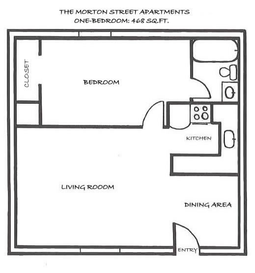 Floor plan of apartment 104, the one-bedroom at The Morton Street Apartments, 545 Morton Street, Pullman, Wa