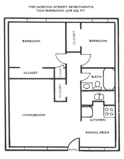 Floor plan of a two-bedroom at The Morton Street Apartments, 545 Morton Street, Pullman, Wa