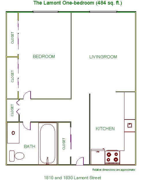 Floor plan of one-bedrooms at The Lamont Apartments, 1810-1830Lamont Street in Pullman, Wa