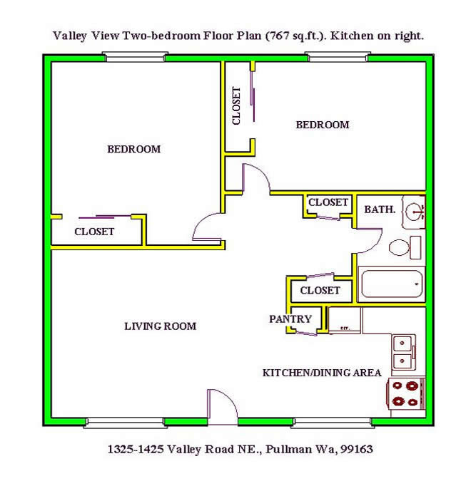 Floor Plan Of A Two Bedroom At The Valley View Apartments