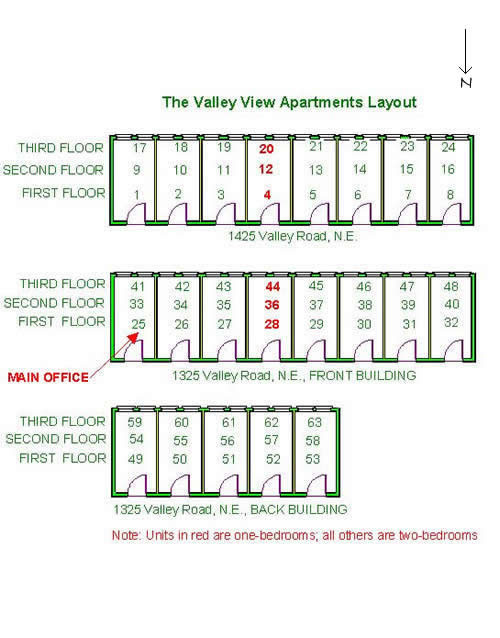 Floor plan of a one-bedroom at The Valley View Apartments, 1325 Valley Road, Pullman, Wa