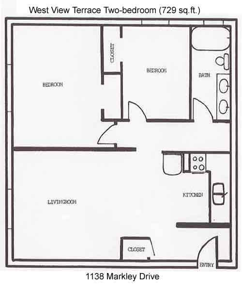 Apartment rentals west view terrace apartments 1130 1146 for Apartment plans with dimensions