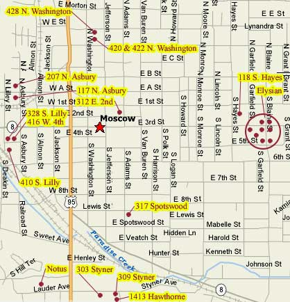 This image shows a map of Moscow, Id with hyperlinks to all Apartment Rentals properties